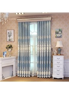 Elegant Embroidery Light Blue Romantic Style Grommet Top Curtain
