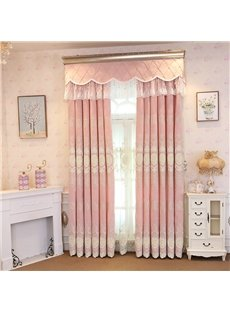 Elegant Embroidery Light Pink Romantic Style Grommet Top Curtain