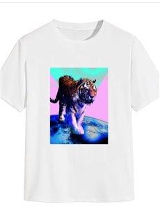 Beddinginn Print Color Block Casual Straight Men's T-shirt