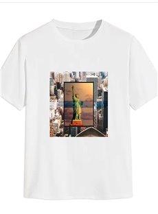 Beddinginn Round Neck Short Sleeve Standard Architecture Summer Men's T-Shirt