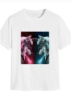 Beddinginn Casual Round Neck Animal Print Straight Men's T-shirt