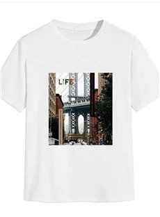 Beddinginn Architecture Round Neck Short Sleeve Standard Western Men's T-Shirt