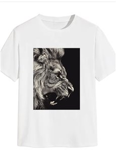 Beddinginn Round Neck Animal Casual Print Straight Men's T-shirt