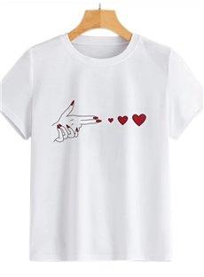 Beddinginn Standard Round Neck Heart Shaped Short Sleeve Straight Women's T-Shirt