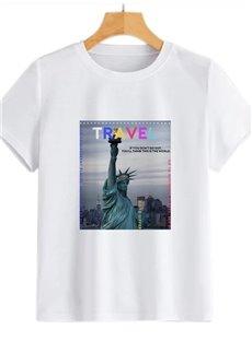 Beddinginn Architecture Standard Round Neck Short Sleeve Straight Women's T-Shirt