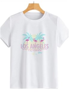 Beddinginn Standard Short Sleeve Hand Painted Round Neck Spring Women's T-Shirt