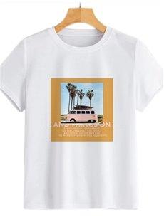 Beddinginn Round Neck Short Sleeve Standard Color Block Spring Women's T-Shirt