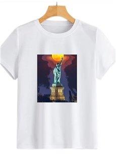 Beddinginn Round Neck Short Sleeve Standard Architecture Spring Women's T-Shirt
