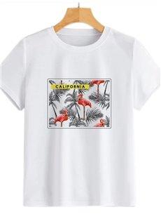 Beddinginn Short Sleeve Round Neck Straight Letter Standard Women's T-Shirt