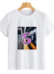 Beddinginn Short Sleeve Letter Standard Round Neck Straight Women's T-Shirt