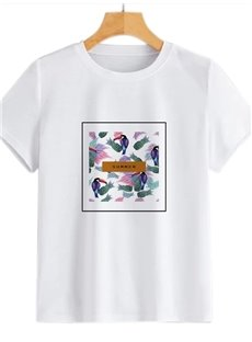 Beddinginn Short Sleeve Round Neck Standard Hand Painted Fall Women's T-Shirt