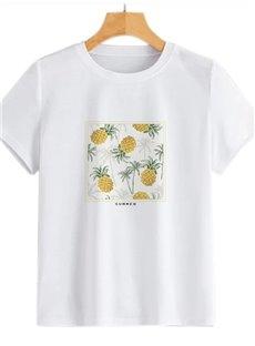 Beddinginn Round Neck Short Sleeve Standard Plant Straight Women's T-Shirt