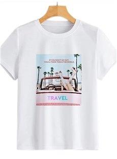 Beddinginn Short Sleeve Standard Round Neck Letter Fall Women's T-Shirt