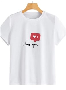 Beddinginn Standard Heart Shaped Round Neck Short Sleeve Straight Women's T-Shirt