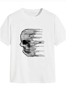 Beddinginn Standard Short Sleeve Round Neck Straight Hand Painted Men's T-Shirt