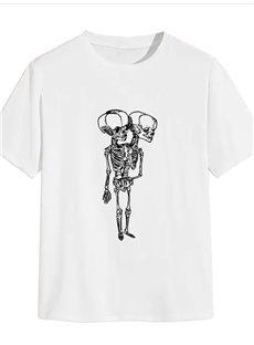 Beddinginn Round Neck Standard Hand Painted Short Sleeve Summer Men's T-Shirt