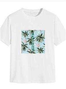 Beddinginn Short Sleeve Standard Round Neck Plant Straight Men's T-Shirt