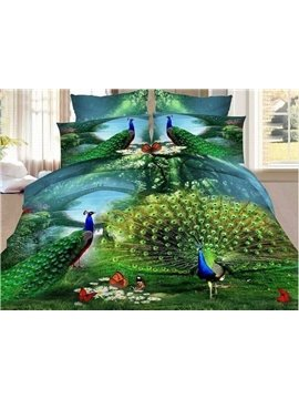 The Peacock Spreads Its Tail Printed 3-Piece 3D Bedding Sets/Duvet Covers