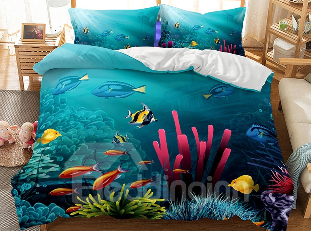Oil Painting Sensel Sea World Printed 3-Piece 3D Bedding Sets/Duvet Covers