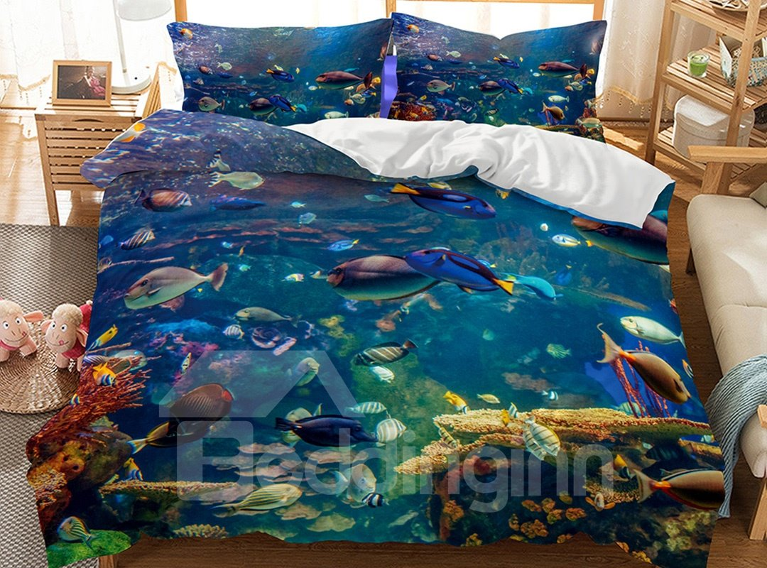 Lifelike Special Ocean World Printed Fade Resistant 3-Piece 3D Bedding Sets/Duvet Covers