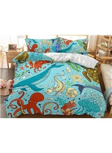 Comforter Happy Underwater World Printed 3-Piece 3D Bedding Sets/Duvet Covers