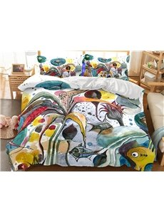 Freehand Sketching Aquatic Plant Printed 3-Piece 3D Bedding Sets/Duvet Covers