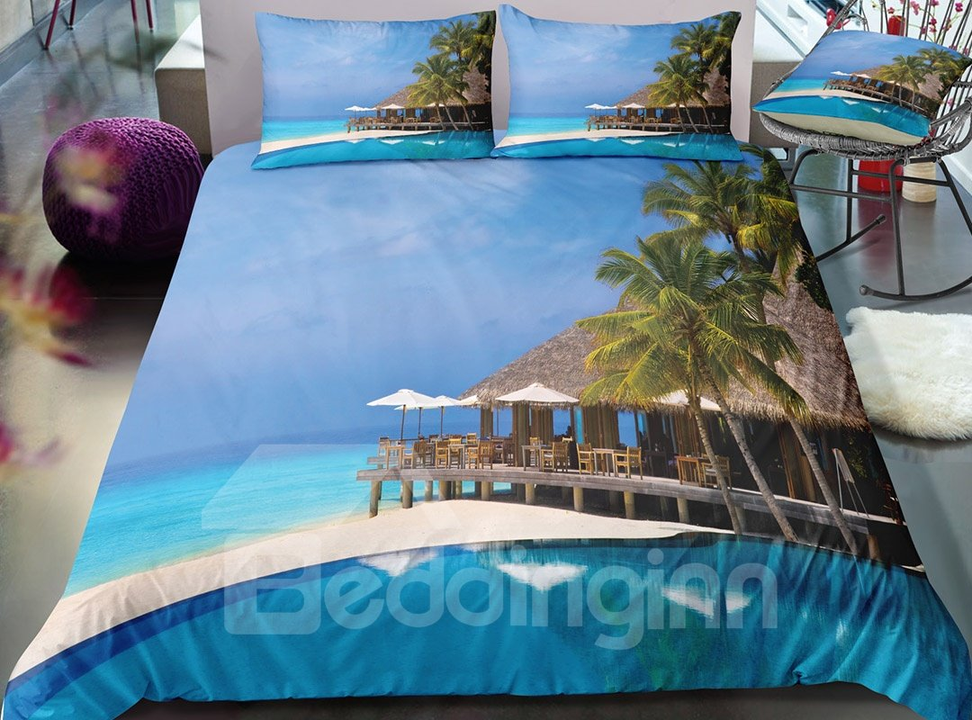 Fade Resistant Seaside With Holiday Village Printed 3-Piece 3D Bedding Sets/Duvet Covers