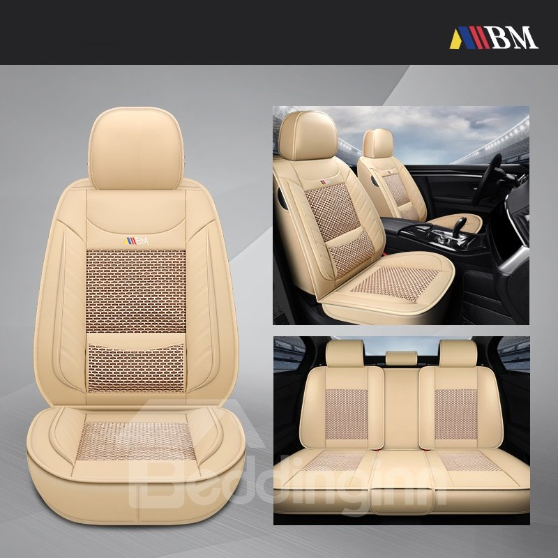 Color Block Business Style Ice Silk Universal Car Seat Cover