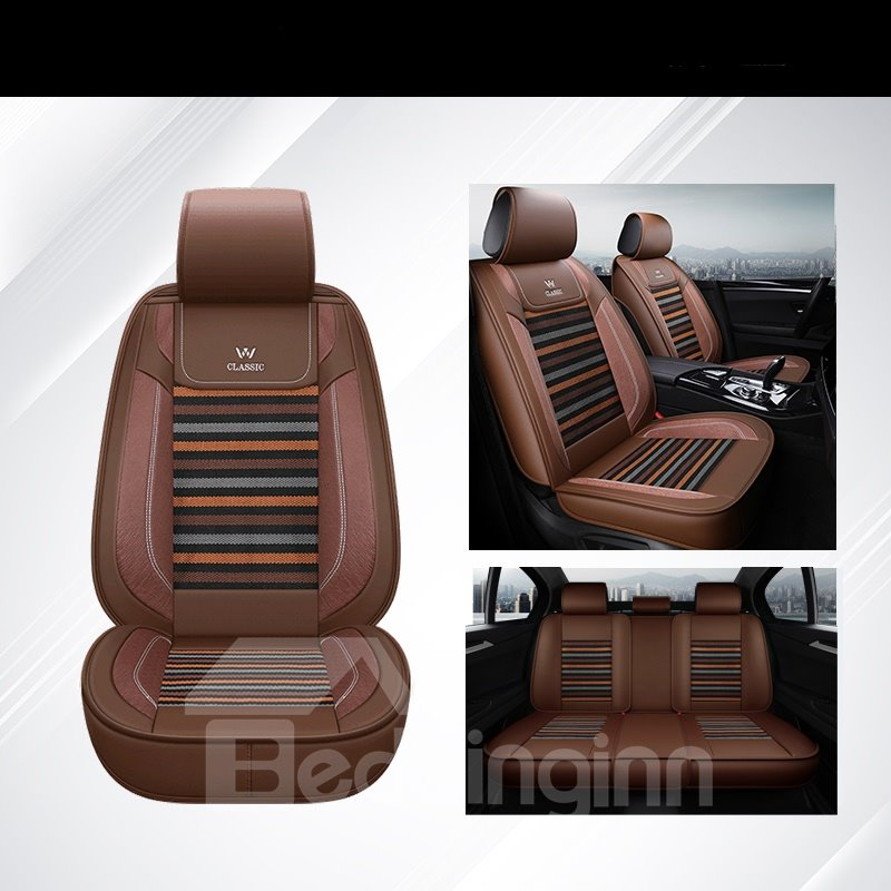 Pastoral Style Color Block Pattern Ice Silk Material Universal Car Seat Cover