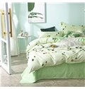 Green Leaves Aloe Cotton Printed 4-Piece Bedding Sets/Duvet Covers