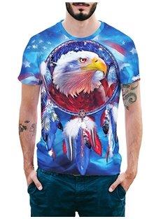 Beddinginn Short Sleeve Fashion Round Neck Print Color Block Men's T-shirt