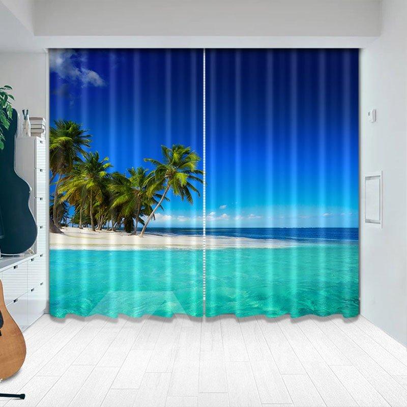 Beddinginn Creative Blackout 3D Seaside Pattern Decoration Curtains