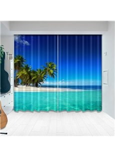 Beddinginn Creative Blackout 3D Seaside Pattern Decoration Curtains