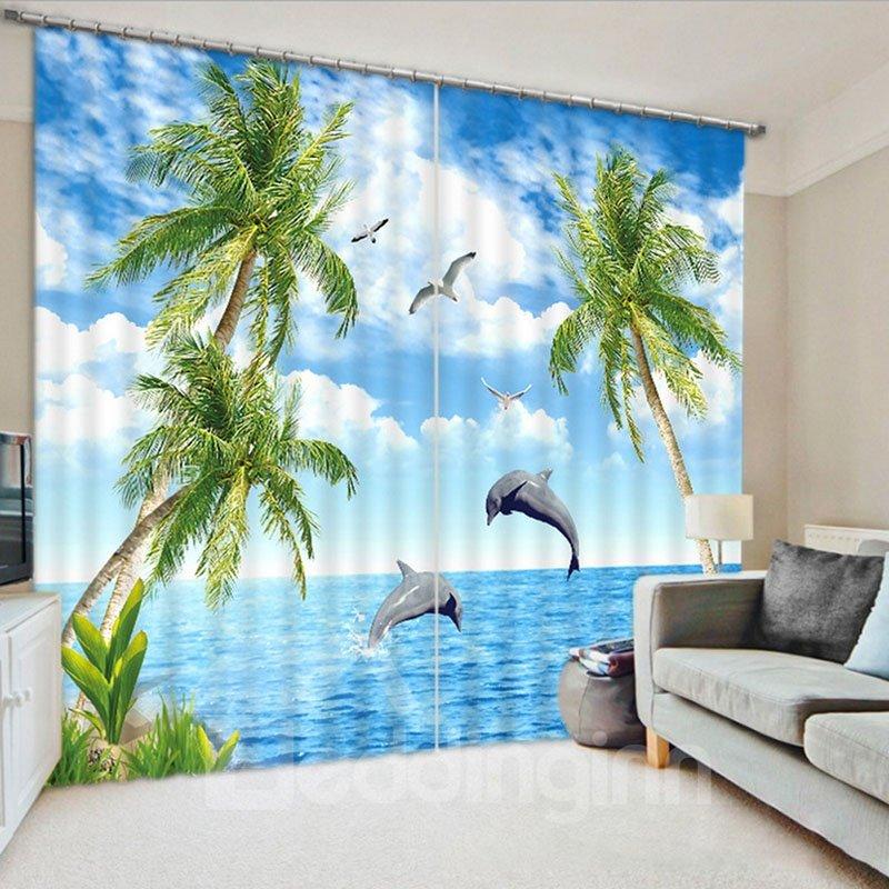 Beddinginn 3D Creative Seaside with Coconut Trees Pattern Curtains