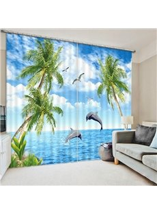 Beddinginn 3D Creative Seaside with Coconut Trees Pattern Curtains
