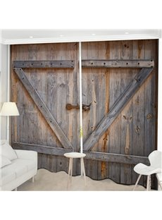 Beddinginn Creative 3D Old Wooden Barn Door Decoration Curtains