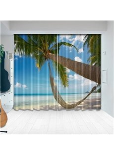 Beddinginn 3D Tropical Palm Trees on Island Curtains