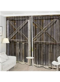 Beddinginn Decoration 3D Old Wooden Barn Door Curtain