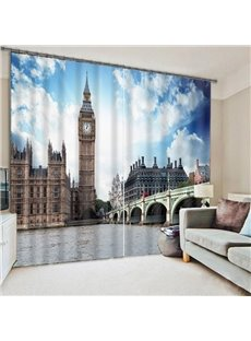 Beddinginn Creative Ancient Big Ben View from The Britain Street Decoration Curtain