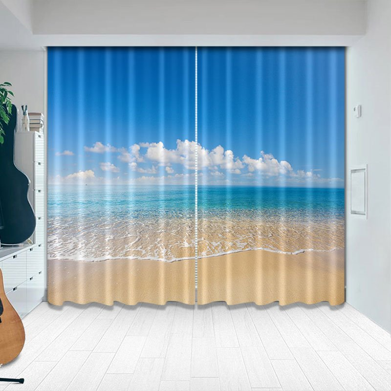 Beddinginn Blackout Creative Ocean Beach Curtain