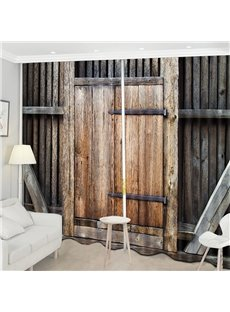 Beddinginn Blackout Wooden Door Decorations Curtain