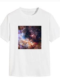 Beddinginn Print Starry Sky Casual Short Sleeve Men's T-shirt