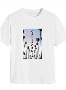 Beddinginn Print Casual Plant Short Sleeve Men's T-shirt