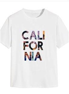 Beddinginn Print Letter Short Sleeve Casual Straight Men's T-shirt