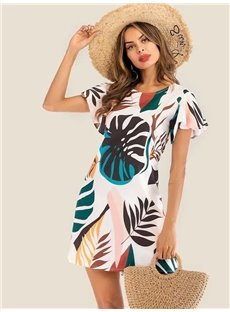 Print Short Sleeve Knee-Length Round Neck A-Line Women's Dress