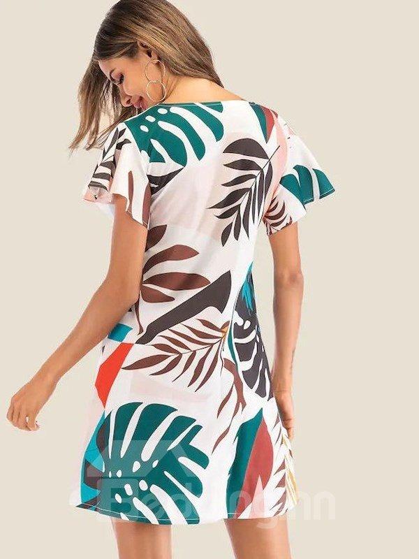 Print Short Sleeve Knee-Length Round Neck A-Line Women