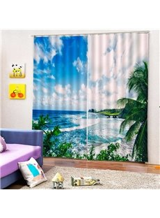 Beddinginn Blackout 3D Blue Sky and Seaside Creative Curtain Curtains/Window Screens