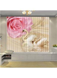 Beddinginn 3D Beautiful Swan Modern Curtain Blackout Curtains/Window Screens