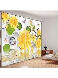 Beddinginn 3D Yellow Flowers Curtain Modern Blackout Curtains/Window Screens