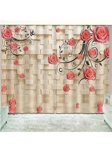 Beddinginn Blackout Creative Rose Curtain Curtains/Window Screens